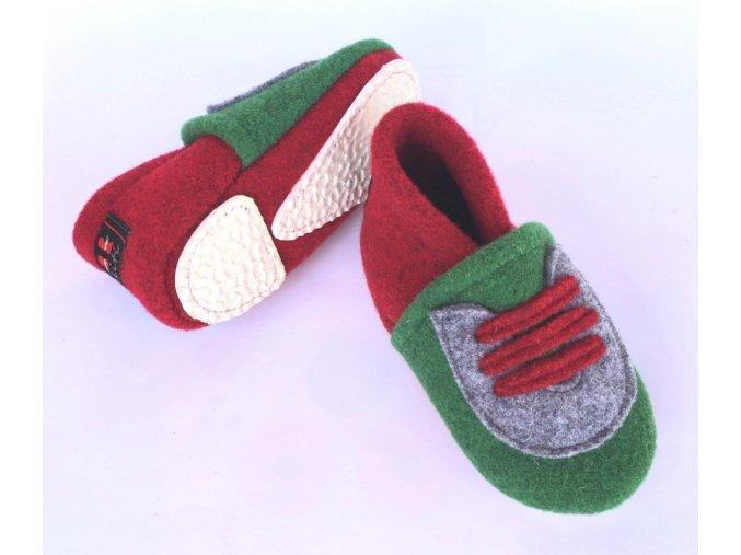 BELITI Dětské capáčky z přírodní vlněné plsti červené-zeleně 1ks