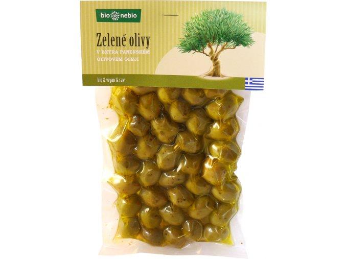 Bio Nebio Bio zelené olivy v extra panenském olivovém oleji 250 g