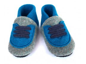 BELITI Dětské capáčky z přírodní vlněné plsti šedé-modré 1ks
