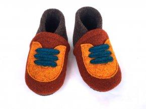 BELITI Dětské capáčky z přírodní vlněné plsti oranžové-hnědé 1ks