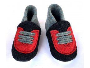 BELITI Dětské capáčky z přírodní vlněné plsti šedé‑červené 1ks