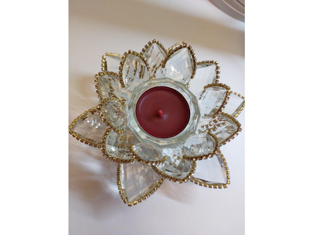 kristalovy lotus svicen 14cm
