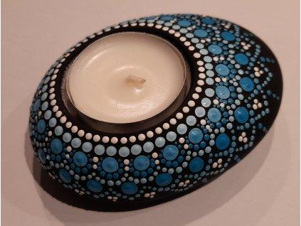 Malovaný kámen - svícen - modrý