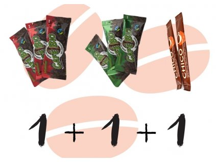 1x chico 2,5g,1x instat. BIO káva bez kofeinu 2,4g, 1x instant. BIO káva 2,4g