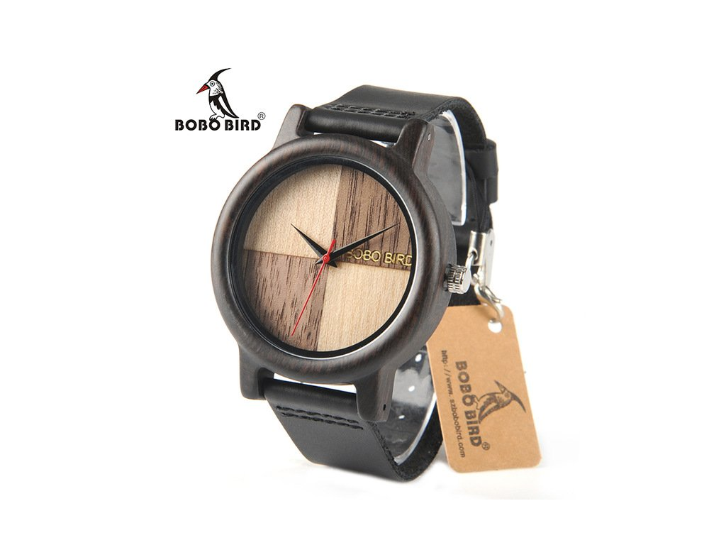 d9a3514b8 BOBO BIRD N08 Newest Wooden Watches Leather Band Natural Chessboard Wood  Face Brand Designer Quartz Watch