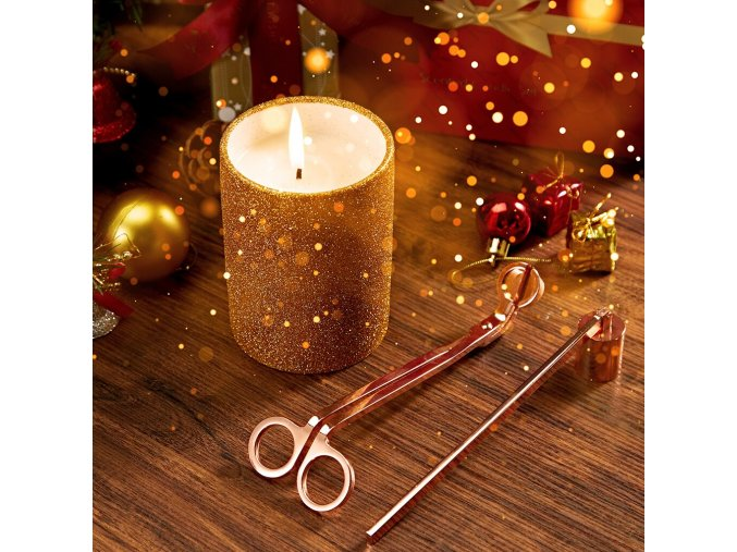 LANGRIA 3 In 1 Gardenia Scented Candle Kit Christmas Candle Snuffer Wick Trimmer Glittering Ceramic Cup