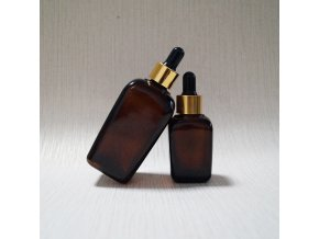 10ml 20ml 30ml 50ml 100ml square glass dropper bottles amber with gold lids R134
