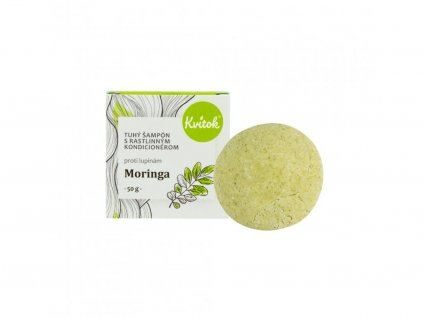 Přírodní tuhý šampon s kondicionérem Moringa proti lupům XL 50 g Kvítok