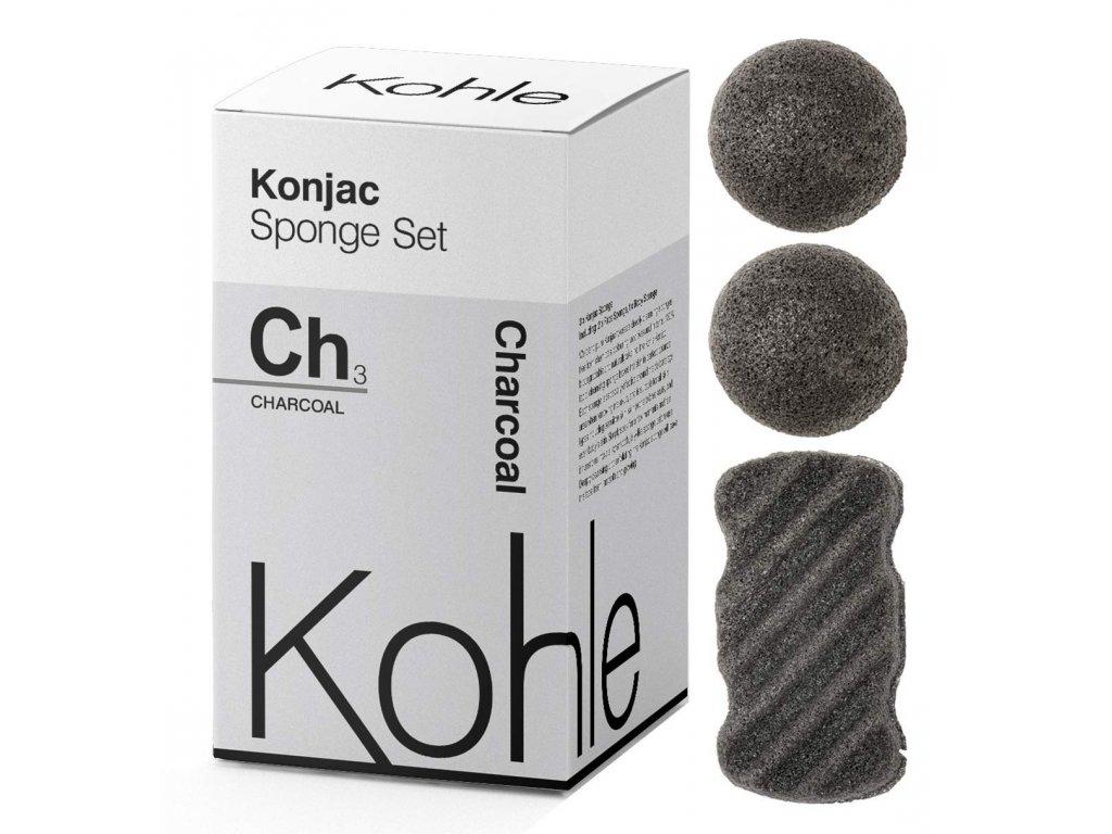 KOHLE Company   Konjac houbičky dárková sada Černé uhlí   Natureforlife.cz