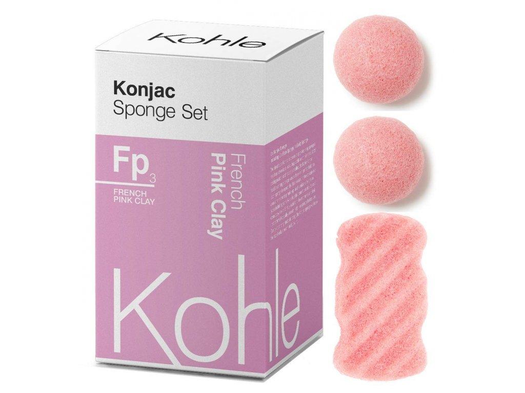 KOHLE Company   Konjac houbičky dárková sada Růžový jíl   Natureforlife.cz