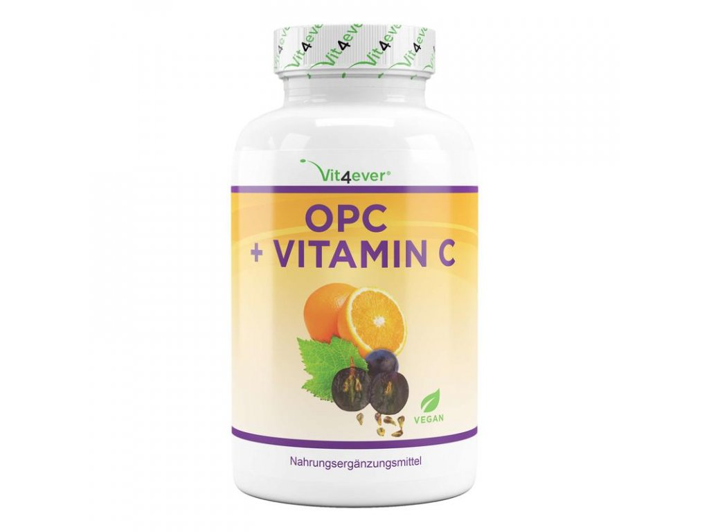 OPC s vitamínem C 180 kapslí | 900 mg extraktu z hroznových jadérek | Natureforlife.cz