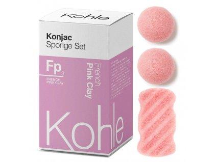KOHLE Company | Konjac houbičky dárková sada Růžový jíl | Natureforlife.cz