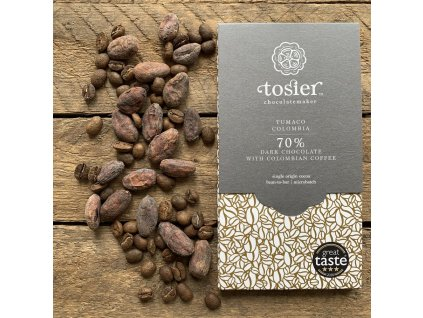 TOSIER CHOCOLATEMAKER Hořká čokoláda s kolumbijskou kávou | 70% KAKAO | Natureforlife.cz