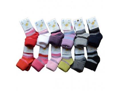 Ponožky DIBA vlněné pruh holka