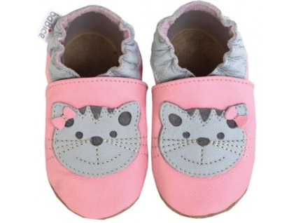 Capáčky BaBice kožené s podešví růžová/kočička