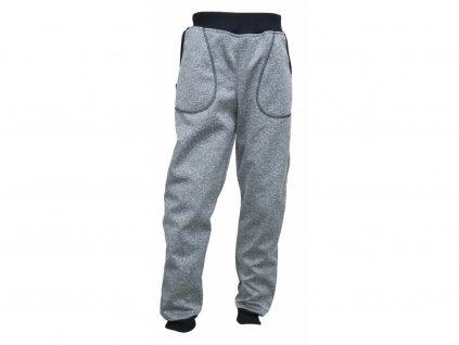 kalhoty Fantom softshell se sníženým sedem šedý melír