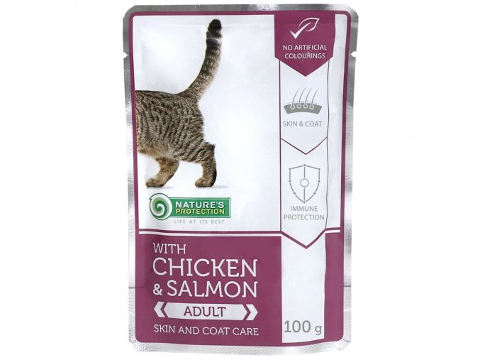 natures protection adult chicken salmon 100g