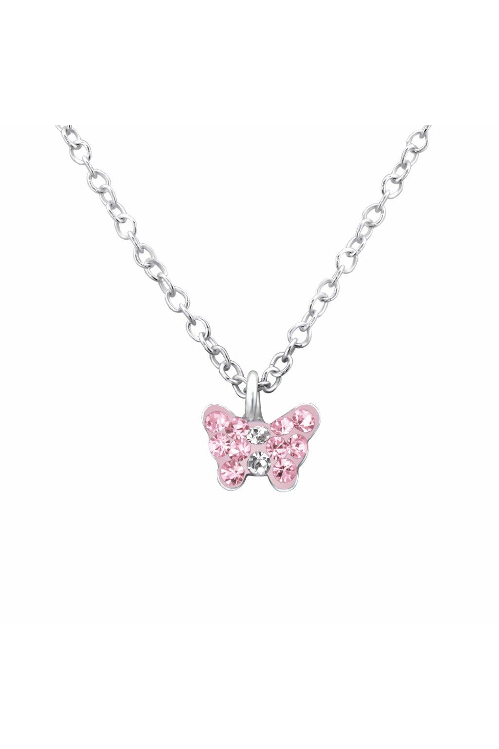 Stříbrný dětský náhrdelník růžový motýlek s kamínky