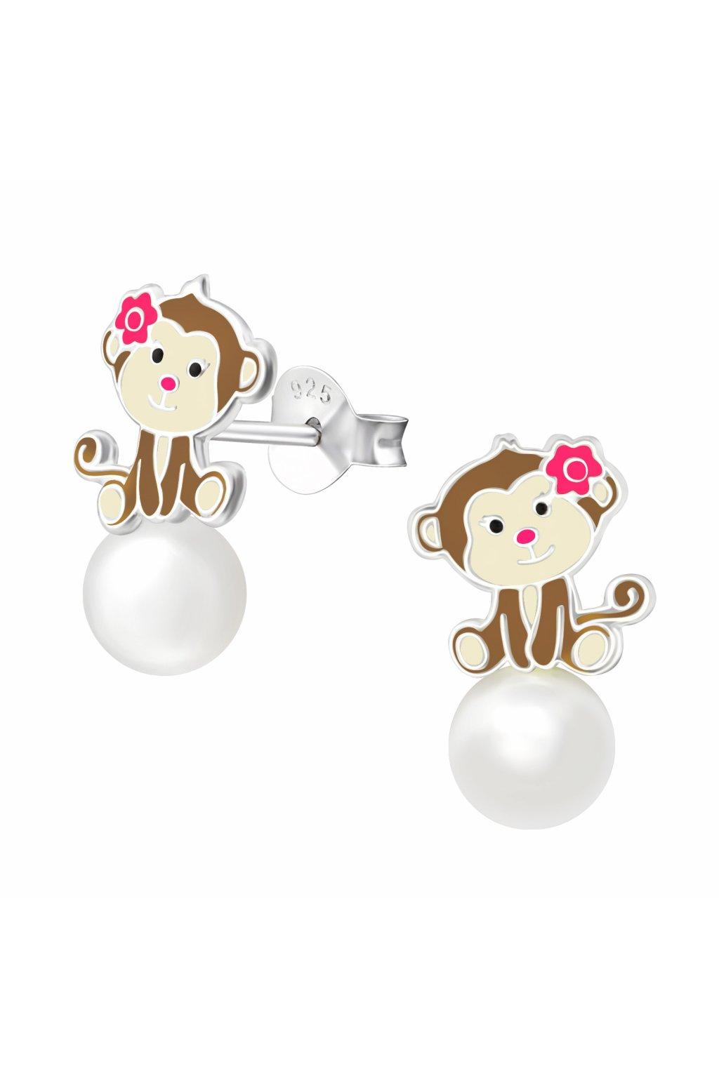 Stříbrné dětské náušnice puzet - opička