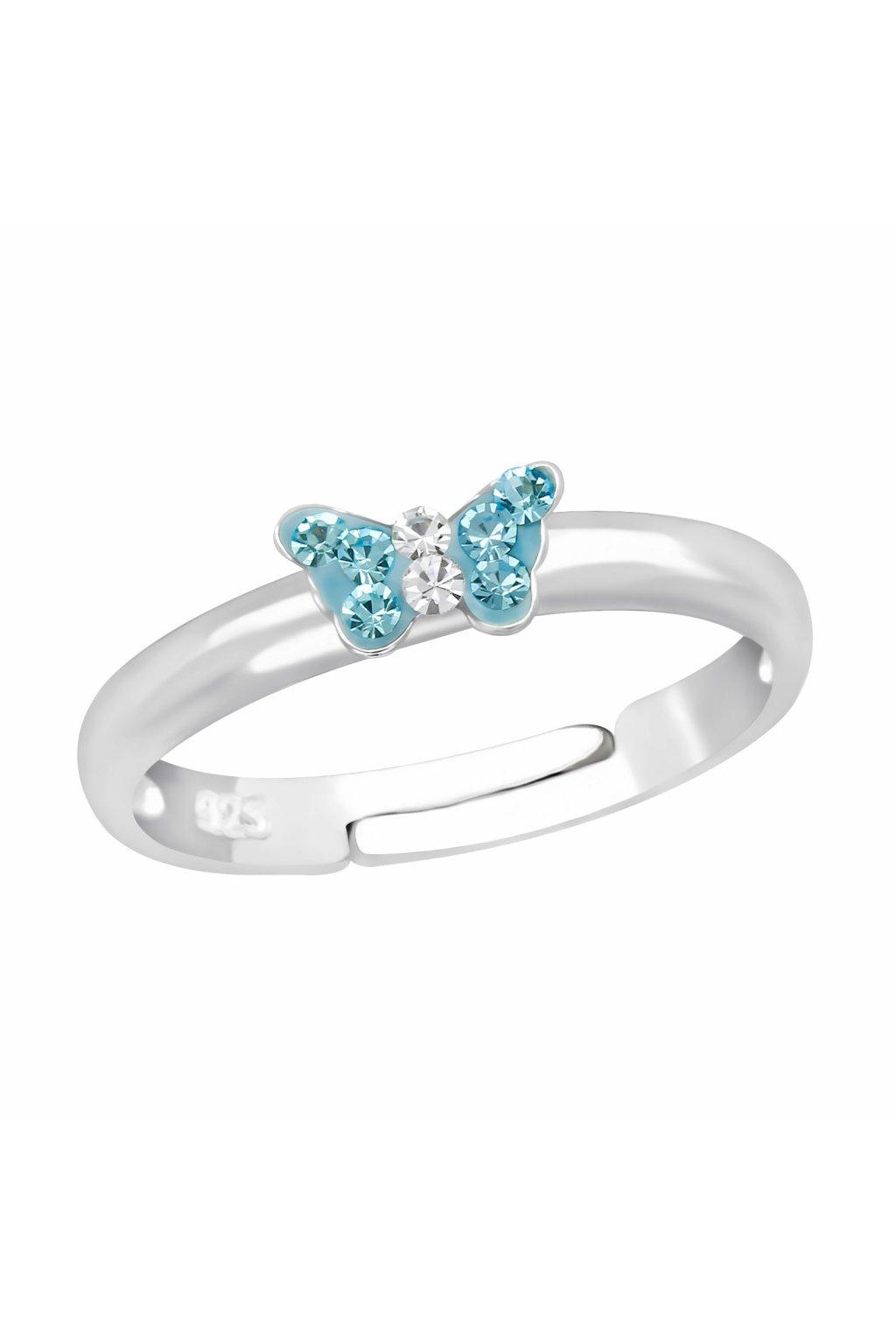 Stříbrný dětský prstýnek modrý motýlek