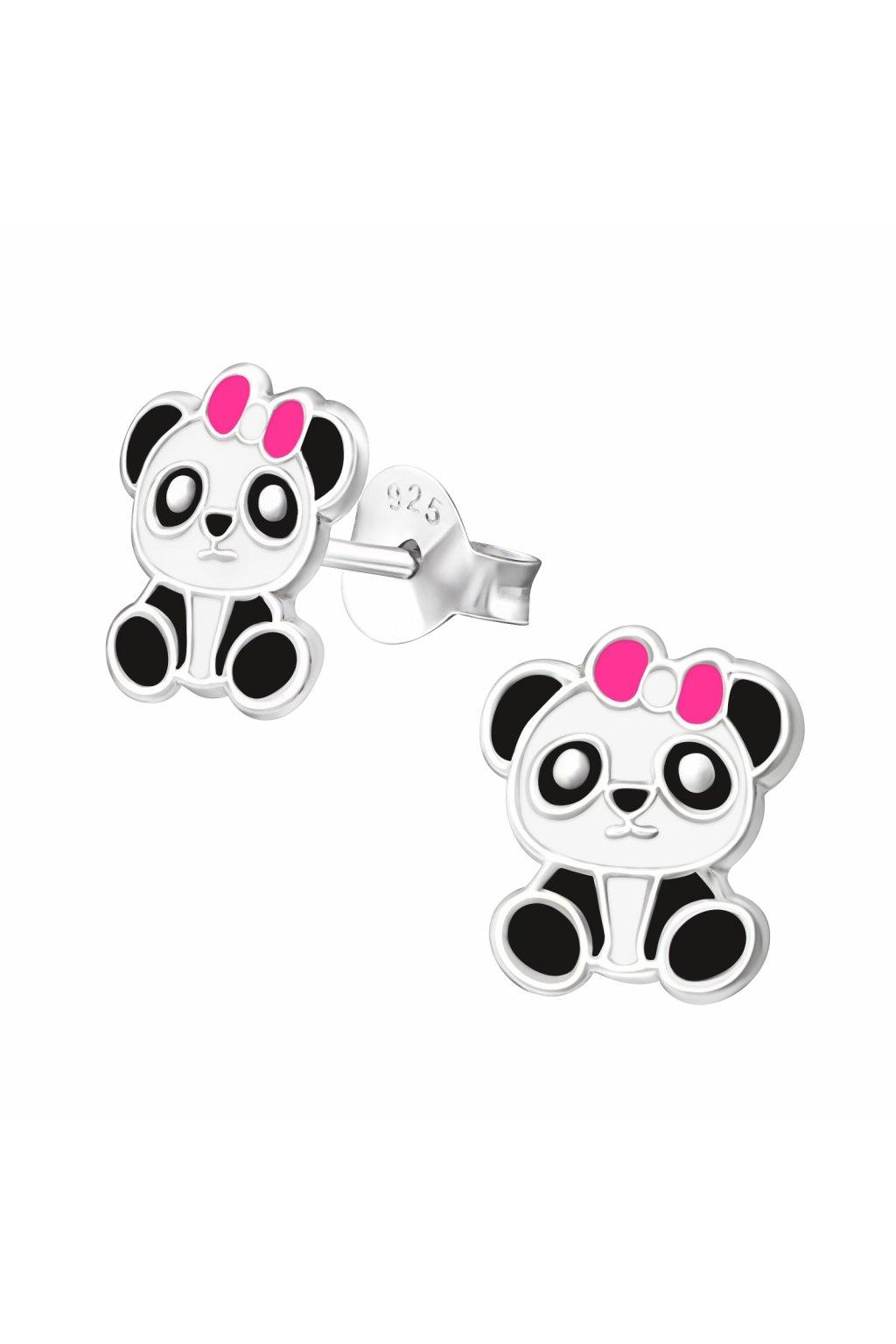 Stříbrné dětské náušnice puzet - panda