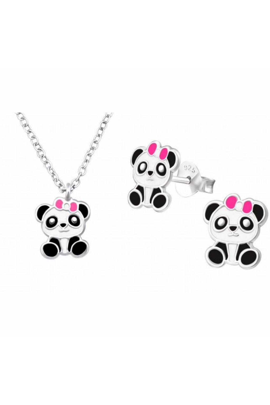 Stříbrný dětský set panda - náušnice, náhrdelník
