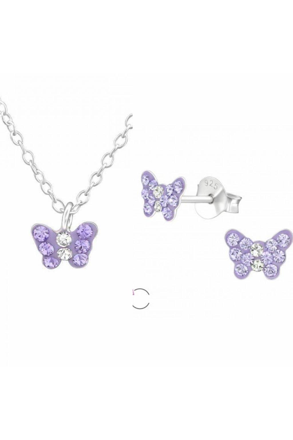 Stříbrný dětský set motýlek - náušnice, náhrdelník