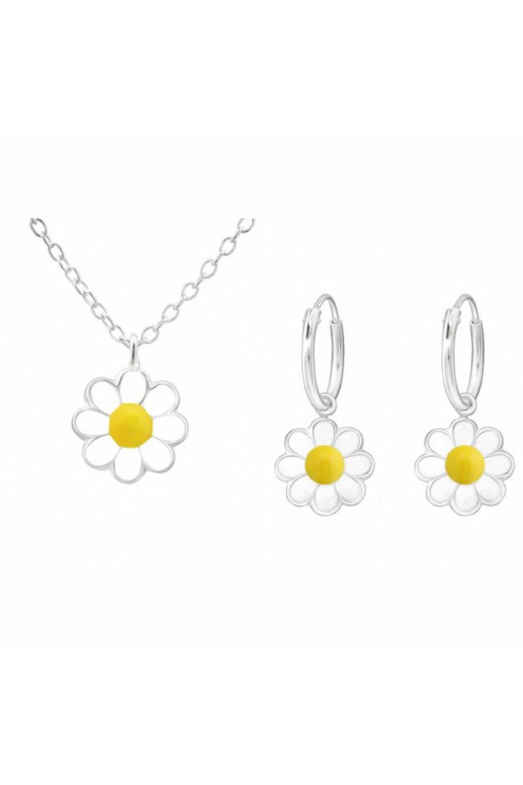 Stříbrný dětský set kopretina - náušnice, náhrdelník