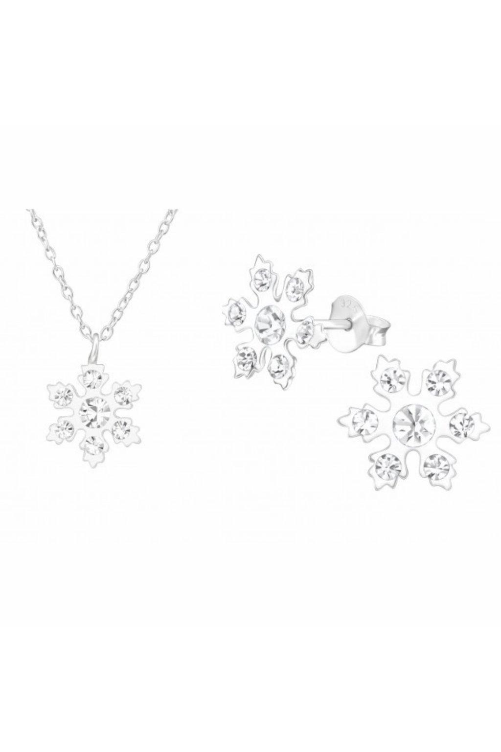 Stříbrný dětský set sněhová vločka - náušnice, náhrdelník