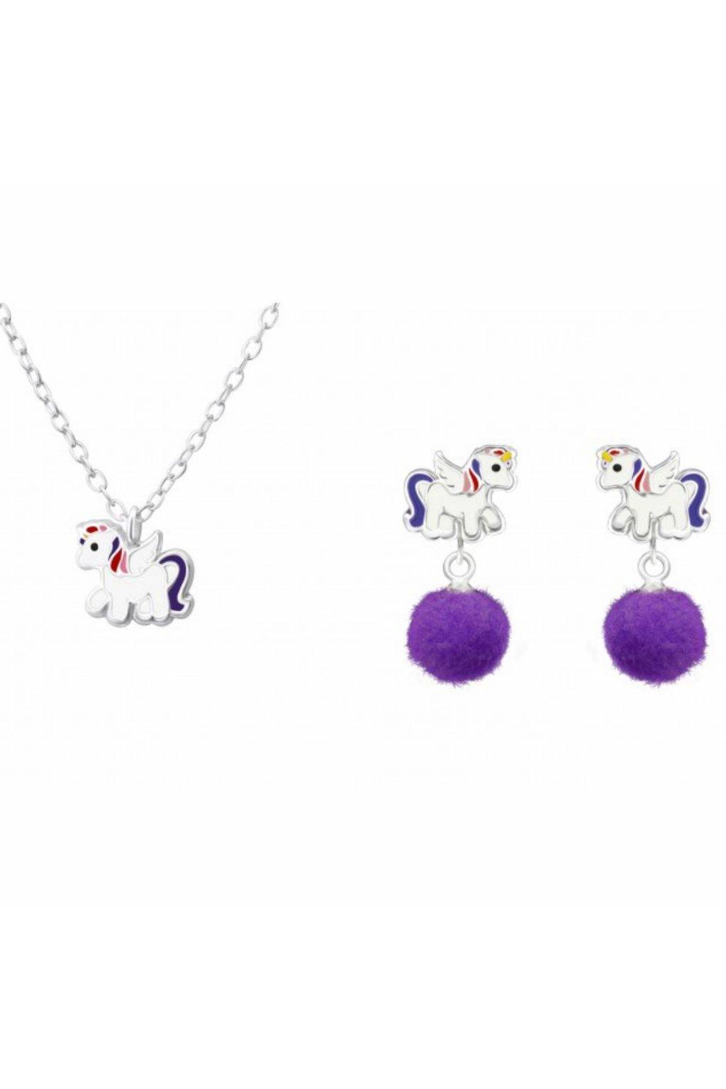 Stříbrný dětský set koník - náušnice, náhrdelník