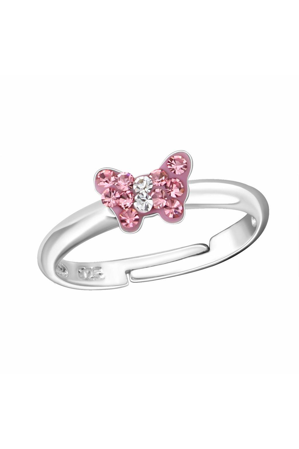 Stříbrný dětský prstýnek růžový motýlek s kamínky
