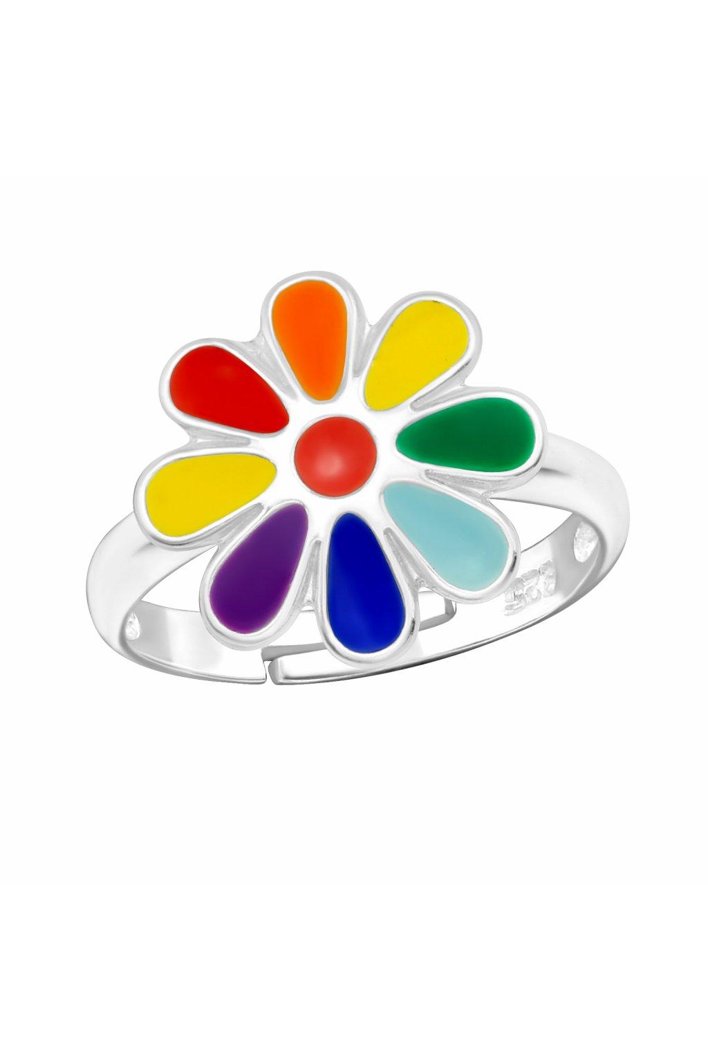 Stříbrný dětský prstýnek duhová květina