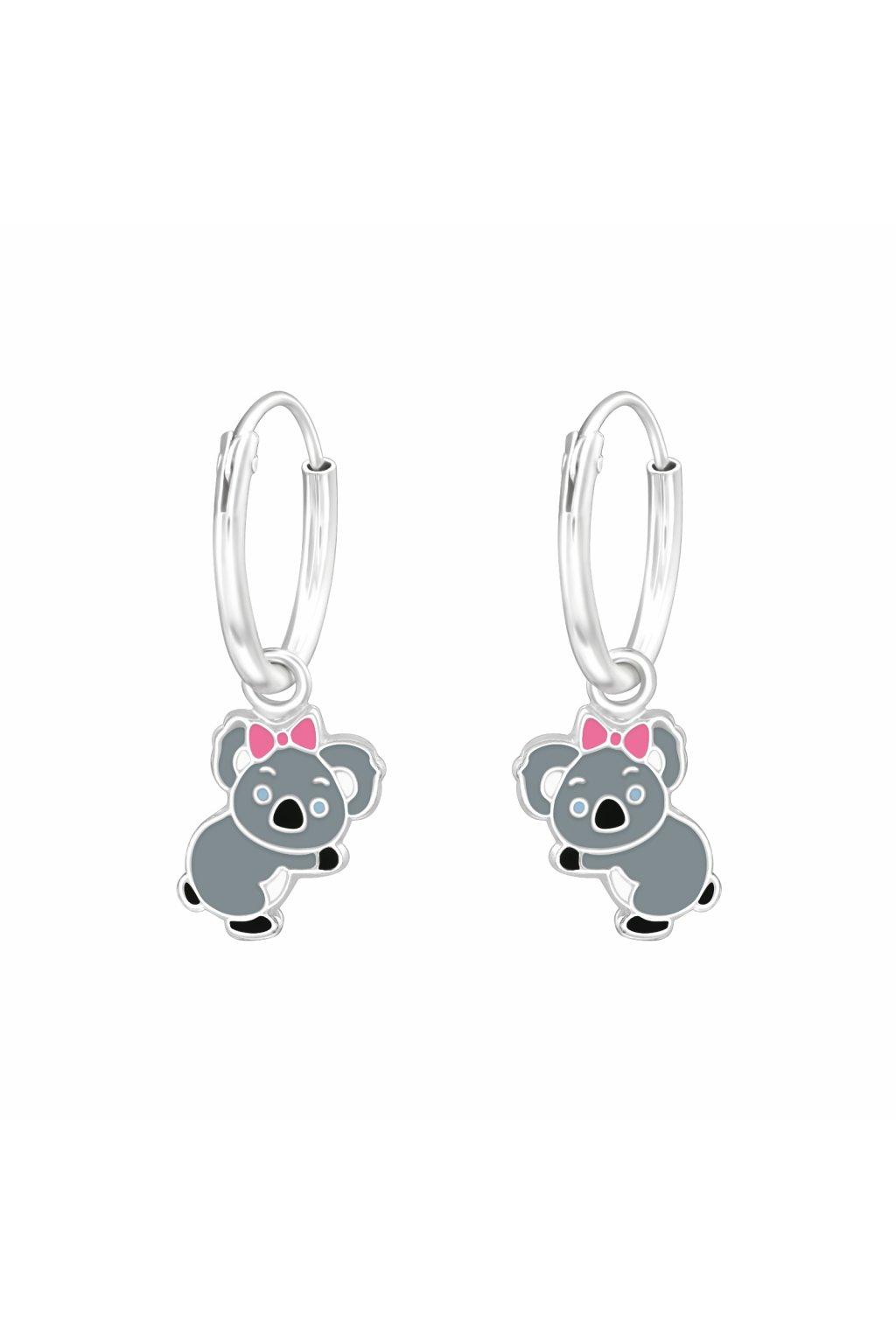 Stříbrné dětské náušnice koala