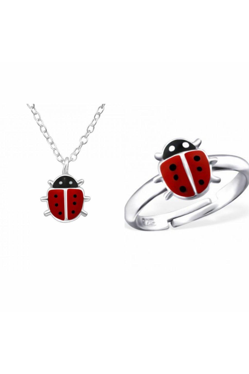Stříbrný dětský set beruška - náhrdelník, prstýnek