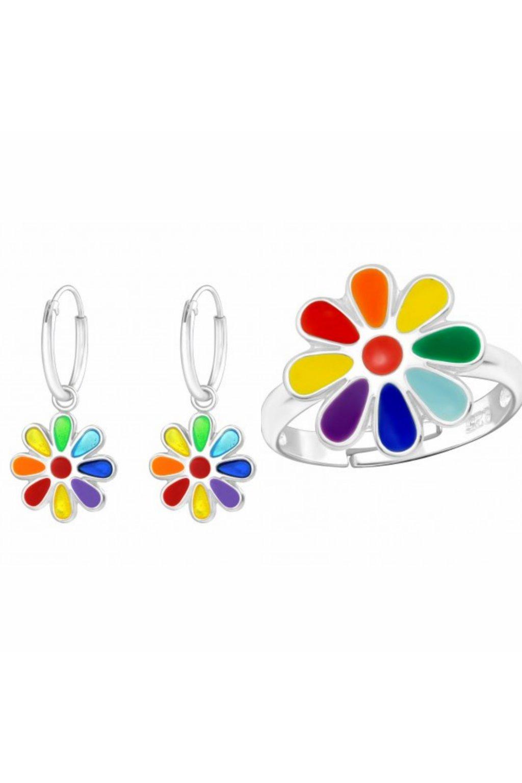 Stříbrný dětský set duhová květina - náušnice, prstýnek