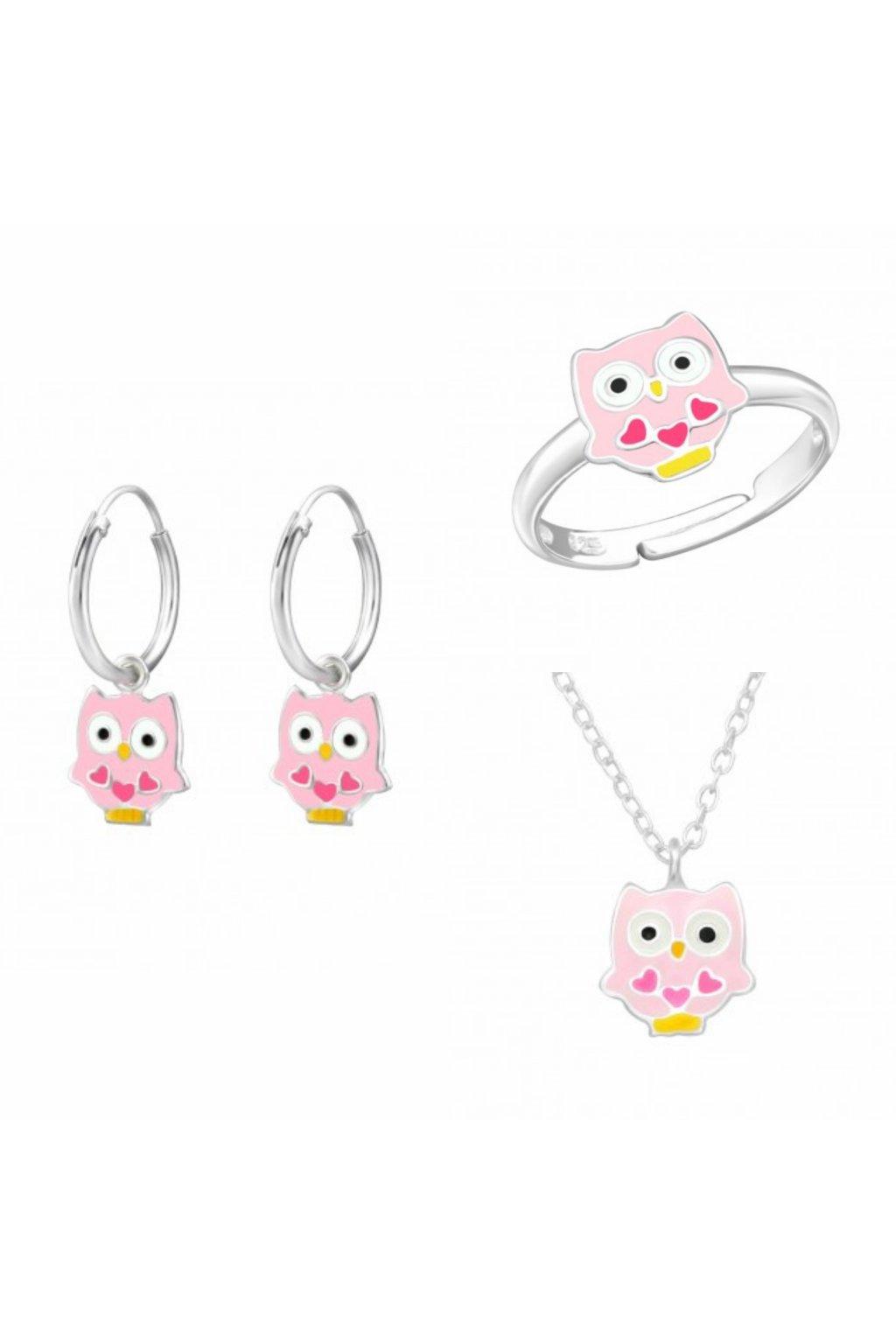 Stříbrný dětský set sovička - náhrdelník, náušnice, prstýnek