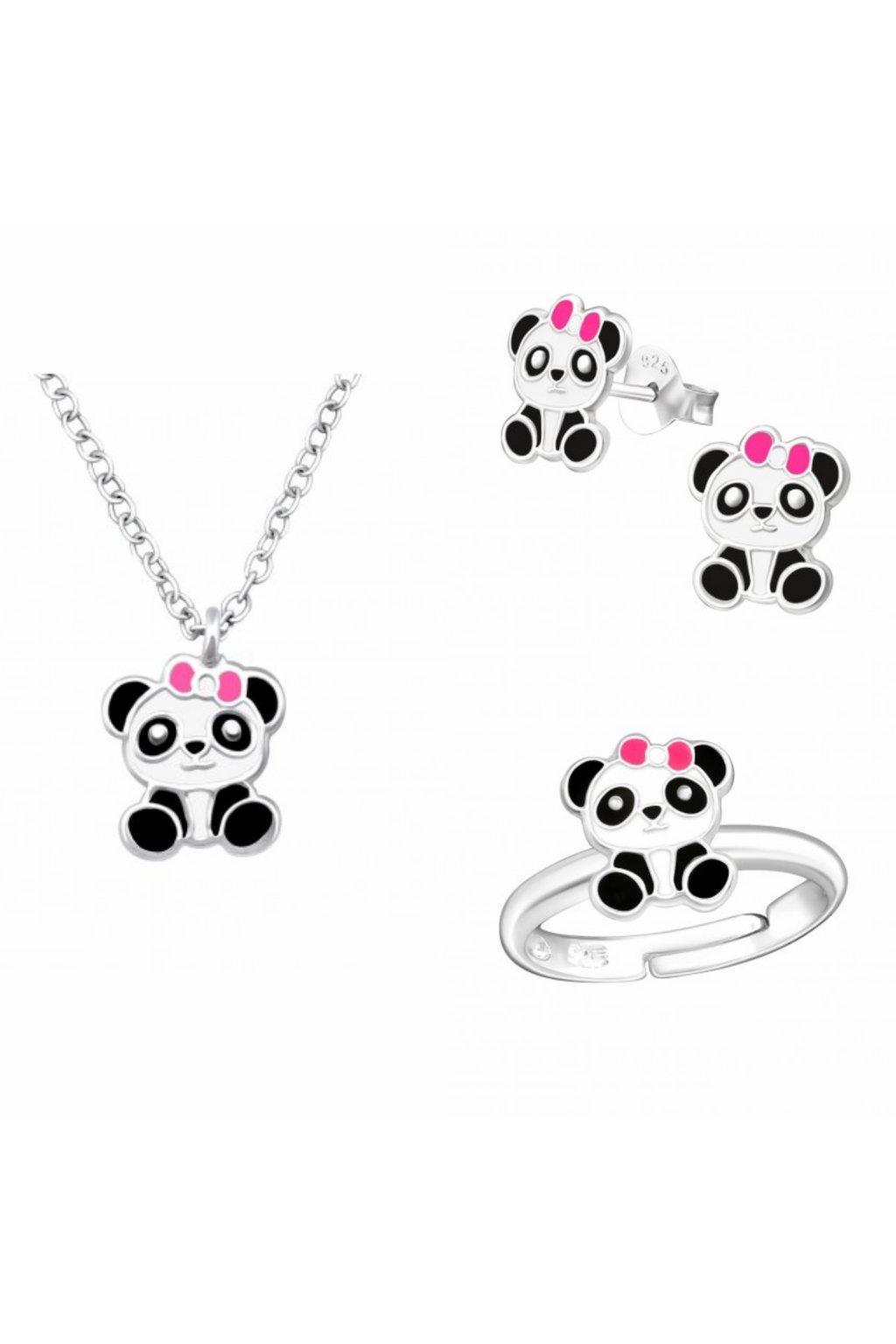 Stříbrný dětský set panda - náhrdelník, náušnice - puzet, prstýnek