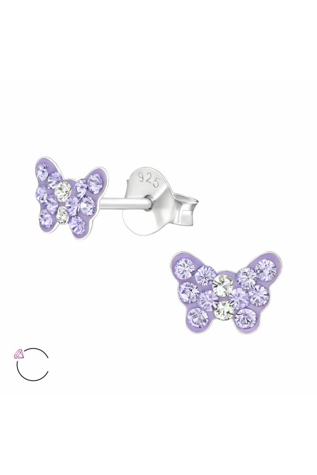 Stříbrné dětské náušnice puzet - motýlek Swarovski