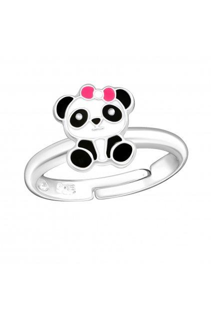 Stříbrný dětský prstýnek panda