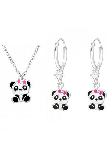 Stříbrný dětský set panda - náušnice Swarovski, náhrdelník