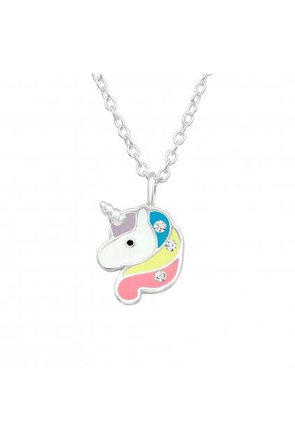 Stříbrný dětský náhrdelník jednorožec s kamínky