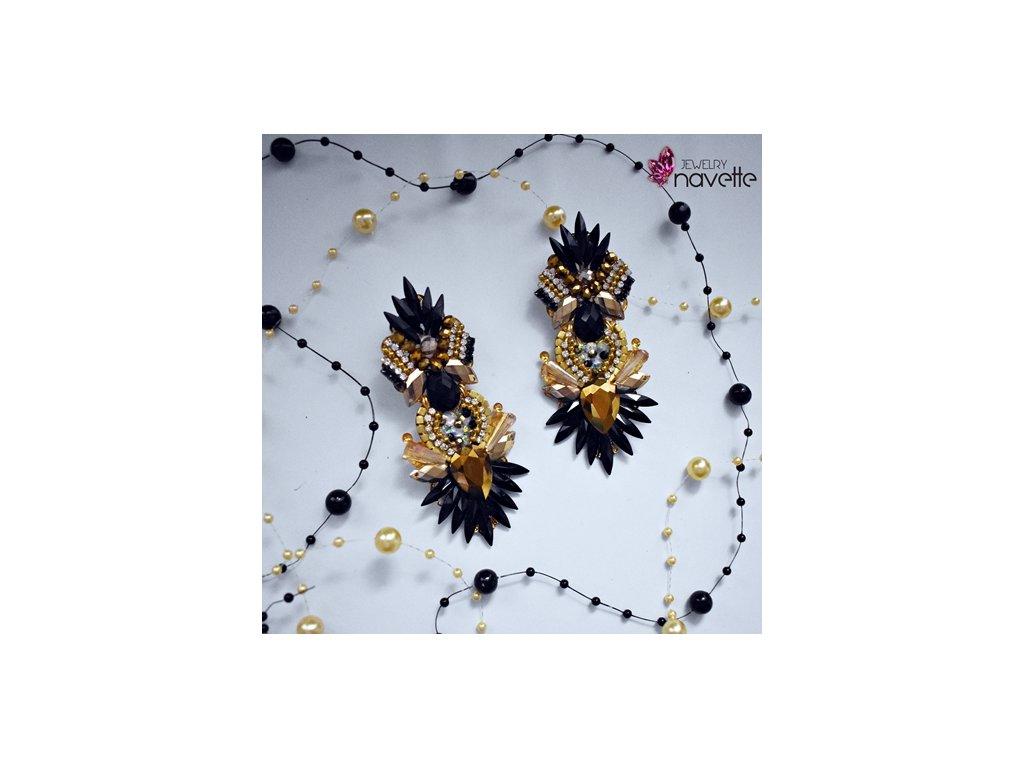 Náušnice Samanta black/gold