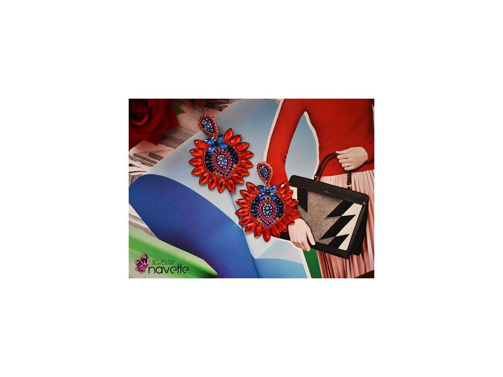 Bezstrapcové náušnice - červeno modré