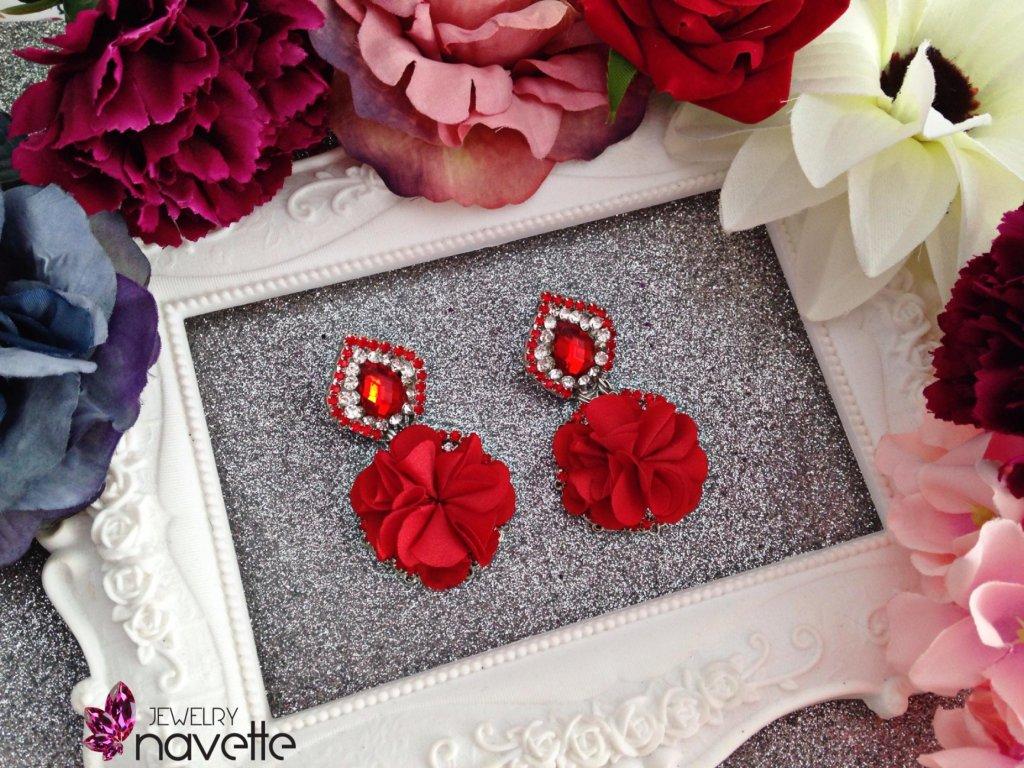 Náušnice mini flower red