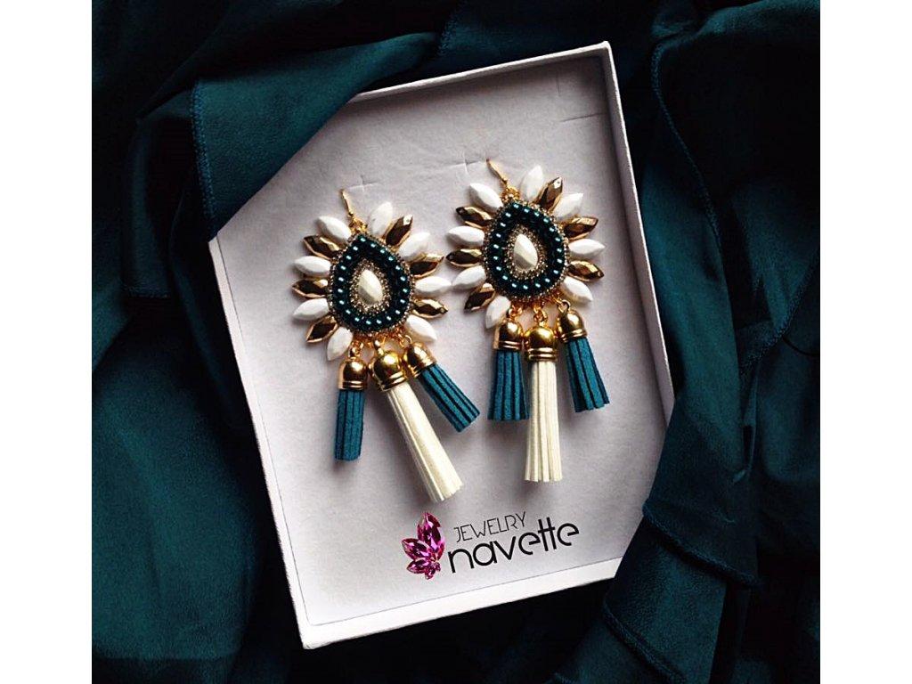 d3172bf51af Náušnice klasic by NJ petrolejové - Navette jewelry