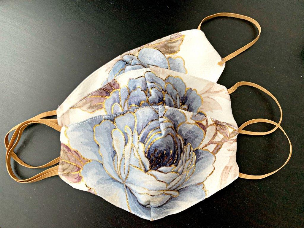 Dizajnové rúško Modry kvet
