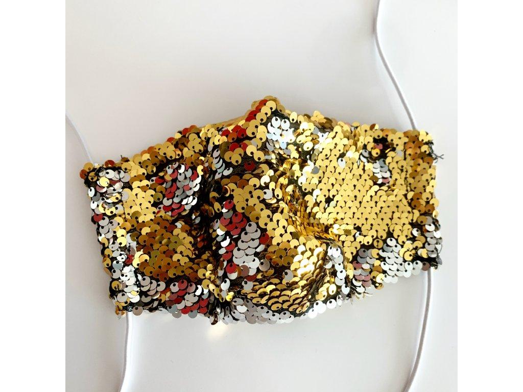 Flitrové rúško zlato/strieborné