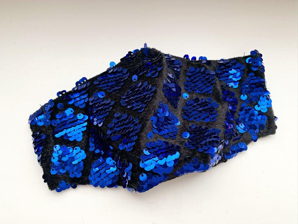 Flitrové rúško modré