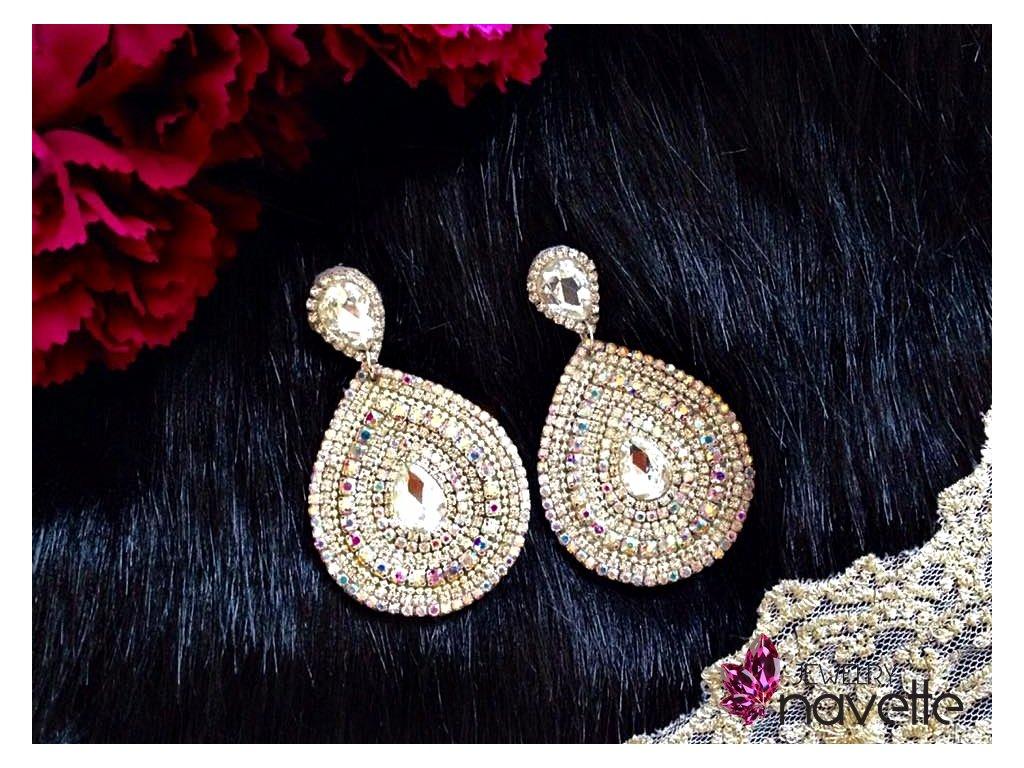 99a2ef1ed Štrasové náušnice - Navette jewelry