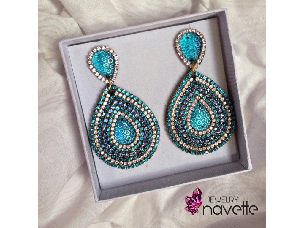 Štrasové náušnice - Navette jewelry 185899f9a14